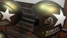 HARLEY DAVIDSON Military Retro 3/4 Helmet, Olive Gold Denim Medium