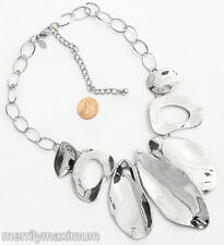 Chico's Signed Necklace Beautiful Shiny Silver Tone Chunky Abstract Leaf Chain