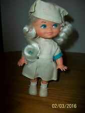 Vintage Hong Kong Made 8.5 inch Plastic Nurse Doll in Original Outfit