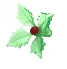 GREEN Poinsettia holly Ceramic Christmas tree light craft bulb star peg pin NEW