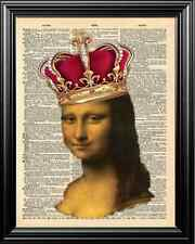 Mona Lisa Crowned Altered Art Upcycled Vintage Dictionary Art Page Wall Print