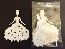 Cardmaking Die Cuts White Card Lady in Gown 8.8cmsx10.8cms Qty 6