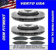 PREMIUM FRONT CERAMIC BRAKE PADS AND DISC ROTORS COMPLETE KIT LEFT & RIGHT PAIR