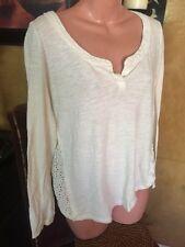 Free People Crochet Back Ivory Blouse - S -  Nice!