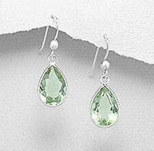Solid Sterling Silver 28mm Green Amethyst Teardrop Dangle Earrings 2g ELEGANCE