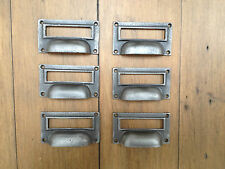 6 X CAST IRON FILING LABEL FRAME DRAWER HANDLES CUP PULLS KITCHEN CUPBOARD DOOR