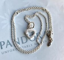 AUTHENTIC PANDORA BE MY VALENTINE CLEAR CZ STERLING SILVER PENDANT NECKLACE19.7""