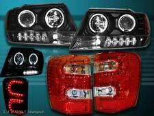 99-04 JEEP GRAND CHEROKEE HALO PROJECTOR BLK HEADLIGHTS LED + TAIL LIGHTS L.E.D.