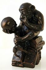 Philosophizing Monkey w Skull Statue Sculpture 1892-93 Rheinhold Bronze Finish