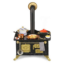 Reutter Porzellan Puppenherd / Decorated Black Kitchen Stove Puppenstube 1:12
