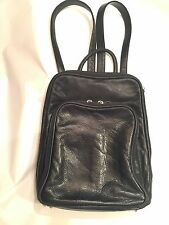 Marley Osgoode Backpack Leather Organizer Teardrop Multi Zip Tote Purse Black