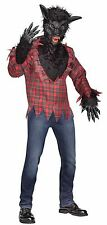 Mens Werewolf Costume Big Bad Wolf Black Fur Mask Plaid Shirt Gloves Adult NEW