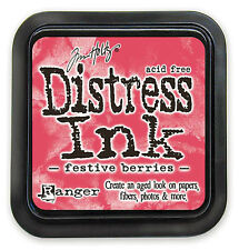 Tim Holtz Distress Ink Pad Full Size FESTIVE BERRIES  Red, Pink  See Video