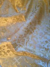 "METALLIC BROCADE W/CROSSES IN IVORY AND GOLD 45"" WIDE 2 YARDS"