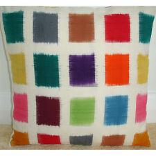 "16"" Cushion Cover Ikat Colour Squares Purple Red Pink Orange Green Blue Yellow"