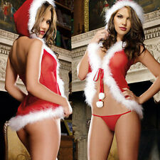 1xHot Christmas Underwear Women's Sexy Lingerie Red Babydoll Dress Sleepwear Set
