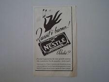 advertising Pubblicità 1952 CIOCCOLATO NESTLE'