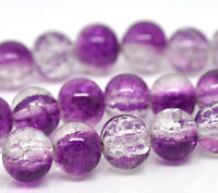 100 X PURPLE & CLEAR GLASS CRACKLE ROUND BEADS 8 MM 12222