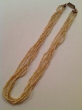Fine Early Victorian Natural Seed Pearl Necklace With Diamond Set Clasp