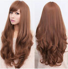 Sexy Women Long Curly Wavy Hair Synthetic Cosplay Wig Light brown Full Wigs Cap