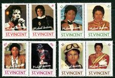 SAINT VINCENT 1985 MICHAEL JACKSON PORTRAITS MINT SET OF 8 STAMPS - $6.70 VALUE!