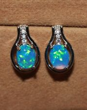 1 PAIR fire opal Cz earrings gems silver jewelry elegant cocktail stud oval