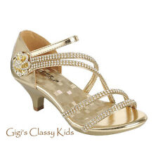 New Pageant Flower Girls Gold White Dress Shoes Rhinestones Heels Party Angel 48