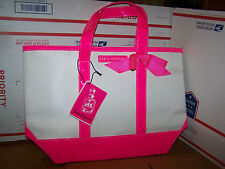 Juicy Couture Tote Bag Sac Hot Pink Trim Bottom and Ribbon Bow White Sides NEW