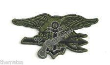 NAVY  SEALS SEAL TEAM TRIDENT OD GRAY EMBROIDERED BADGE PATCH