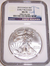 2015 $1 Silver American Eagle NGC MS 70 Early Releases!!! (Blue Label)