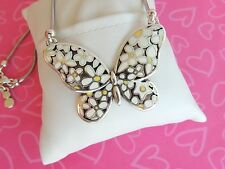 Brighton Necklace Sunny Days Butterfly White Yellow Silver tone Reversible NWOT