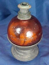 Antique Amber Glass Ball Lamp with Tin Stand Patented 1890 1893