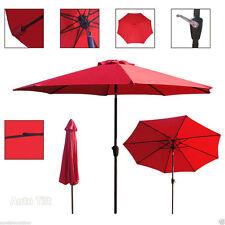 9 Ft Outdoor Table Aluminum Patio Umbrella W/ Auto Tilt Crank Alu. 8 Ribs Red