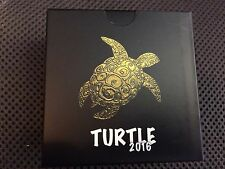 2016 1 oz Silver Fiji Taku Turtle - ruthenium and gold coated - with case, COA