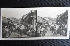 PHOTO STEREOSCOPIQUE CEYLAN SRI LANKA RUE A KANDY BOUTIQUES MARCHE 1906