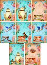 Vintage inspired tea cup pink blue small note cards tags ATC set of 8