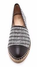 Loeffler Randall Mara Woven Espadrilles, Black/White/Black, Size 10 - $195.00