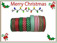 45 yds Red Green Merry Christmas Sparkle Grosgrain Ribbon Lot
