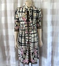 Paganne Gene Berk Vintage White Black Plaid 3/4 Sleeves A-line Dress Sz 14 XL *