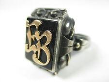 925 sterling Argent Or Bague Chevalière vintage silver um1900 signé o10 n4