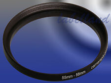 55mm-58mm Filter Adaptor Ring Converts 55mm lens thread to 58mm 55-58 Step-Up
