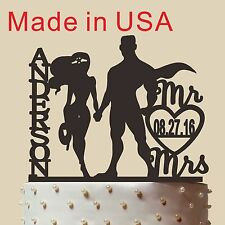 Customized Superman Wonder woman Cake Topper with Mr&/Mrs Name Date  6''