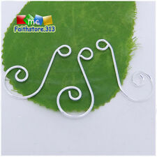 20 pcs Silver Plated Premium Swirl Scroll Christmas Ornament Hooks Hangers P002