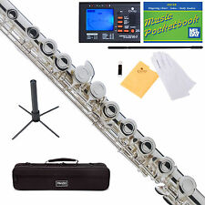 Mendini C Flute Silver Plated, Closed Hole, Offset G, Split E +Tuner+Stand+