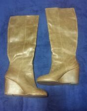 Steve Madden P-long Taupe Blemish Leather Tall Knee High Women Boot  Shoe US 6
