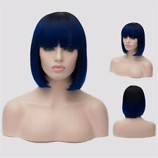 Neat Bnag Women Blue Black Gradient Full Hair Straight Anime Cosplay Party Wigs