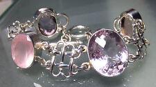 925 silver chunky 38gr faceted rose quartz & pink amethyst gemstones bracelet.