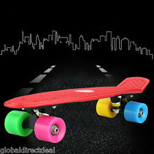21.65'' Fish-Style Skateboard Complete Wheels Deck Board Street Cruiser for Kids