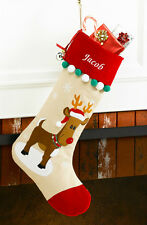 Reindeer Personalized Christmas Stocking made of Tan Corduroy and Red Velvet