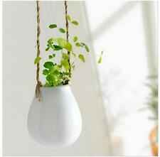 Home Garden Ceramic Hanging Planter Flower Pot Pots Green Plant Vase w Twine X @